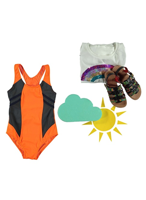 Dagi Kız Çocuk Yüzücü Mayo Oranj